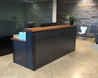 Industrial metal & wood reception desk