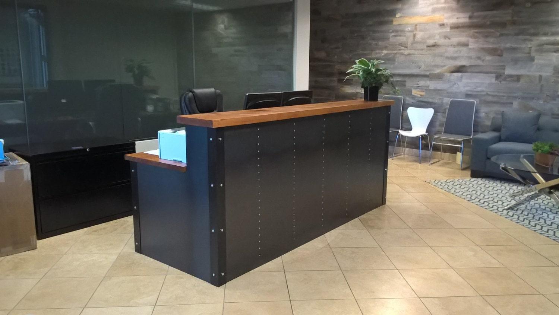 Industrial Metal Amp Wood Reception Desk