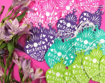 Fiesta Gift Tags, Party Favor, Thank You Tags, Wedding, Fiesta Decorations, Papel Picado, Corazón, Paper Cut Decorations, Set of 12