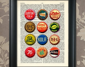Vintage Soda Bottle Caps, Soda Print, Soda Bottle Art, Soda Pop Art, Soda Bottle Poster, Soda Bottle Caps, Vintage Beer, Bar Decor, Kitchen