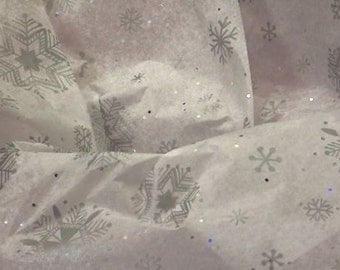 "Diamond Snowflake Sparkly Christmas Tissue Paper #899 / Gift Wrap -- 10 Large sheets ....20"" x 30"""