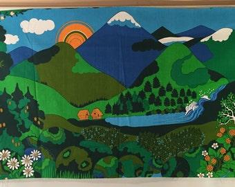 MIRAMIKKO ERA  Vintage New Stock 70s Vibrant Modernist Asian Landscape printed fabric panel on light cotton