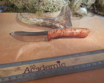 Eric's Oregon Elk Skinning Knife Tan Stabilized  Big Leaf Maple wood Handles