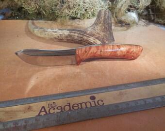Eric's Oregon Elk Skinning Knife Tan Stabilized  Big Leaf Maple wood Handles