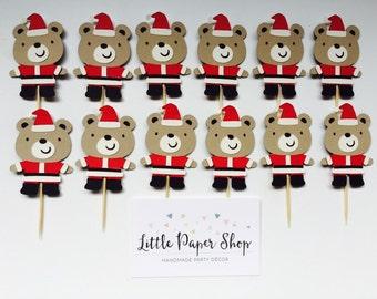 Handmade Cupcake Toppers - Santa Christmas Bear Theme x 12
