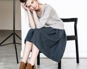 Linen skirt with deep pockets / A - line washed linen skirt in charcoal / Midi linen skirt / High waist linen skirt