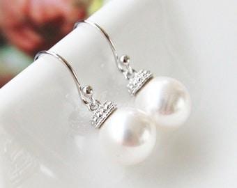 White pearl earrings, Swarovski pearl earrings, White bridal Earrings, Pearl dangle Earrings, Bridesmaid gift, Wedding pearl earrings
