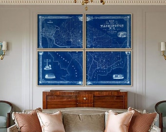 "Washington DC map 1850, Old map of Washington D.C. 4 sizes up to 64x48"" (160x120cm) in 1 or 4 parts, also in blue, Limited Edition of 100"