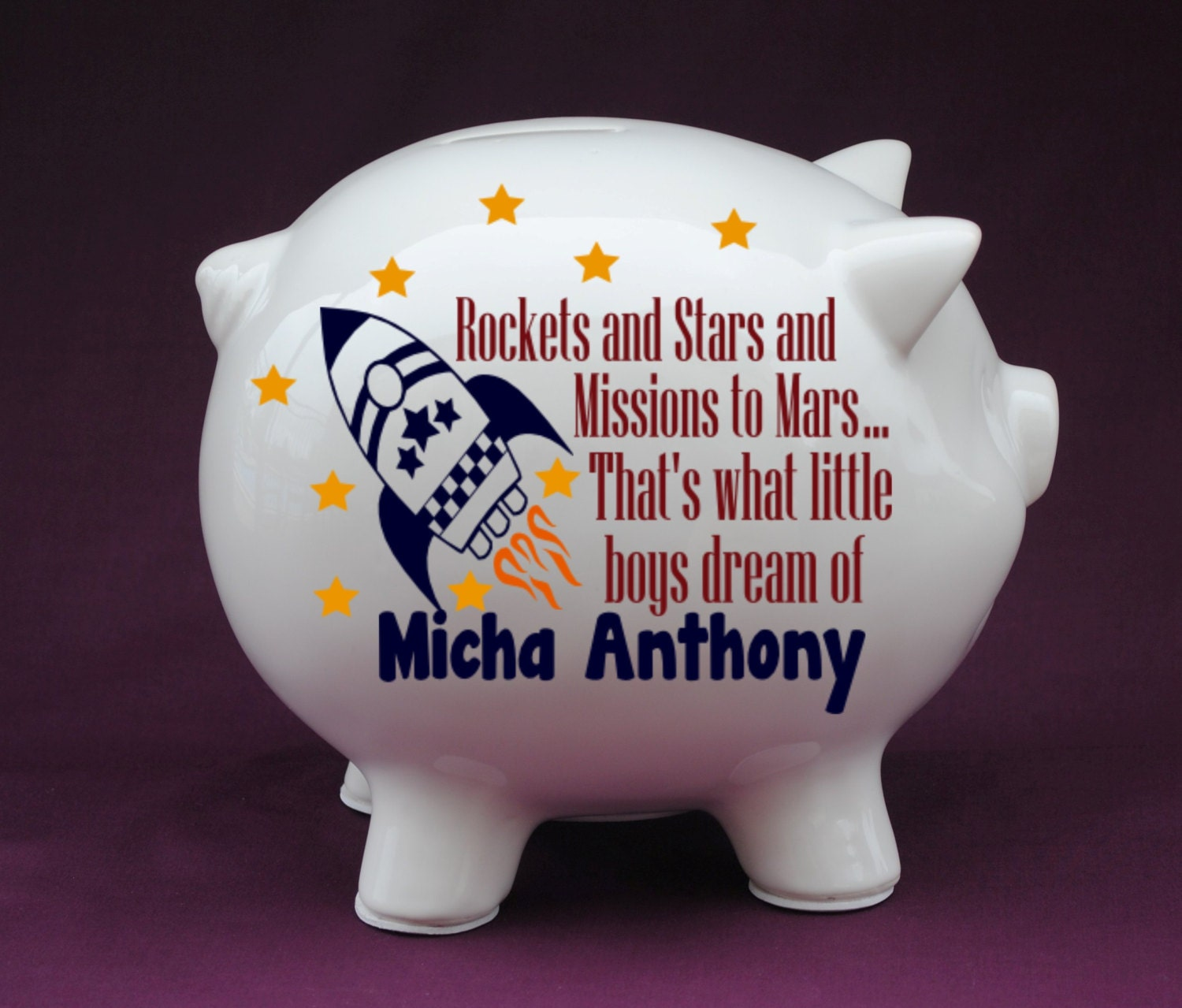 Rocket quote personalized piggy bank with vinyl decal shower - Rocket piggy bank ...