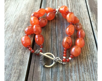 Carnelian bead, Bracelet, Vintage, 2 strands, Semi Precious Stones, with silver findings