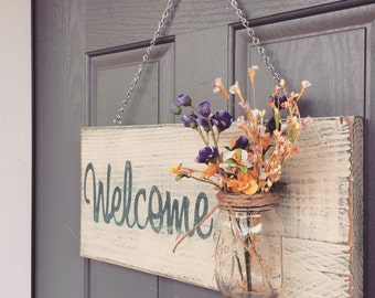 Rustic outdoor blue welcome outdoor welcome sign by for Rustic outdoor decorating