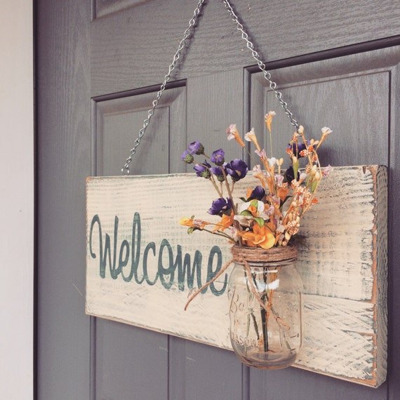 Rustic outdoor welcome sign in blue white outdoor by for Outdoor decorative signs