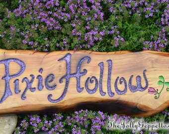 Pixie Hollow Sign, Tinker Bell Sign, Flowering Vine, Neverland Sign, Pixie Hollow, Tinkerbell Sign, Disney Sign, One of a Kind Wood