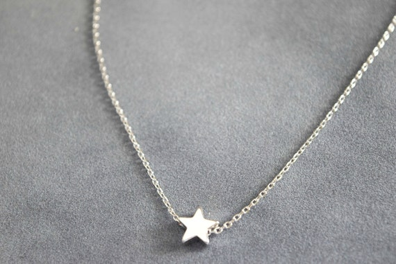 Star necklace, star charm necklace, dainty necklace,bridesmaid gift, gift necklace, sterling silver necklace, S1