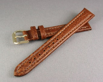 12 mm Brown watch strap, Watch strap light brown genuine leather, Leather watch band for brown wood watches or classic watches, Watch strap