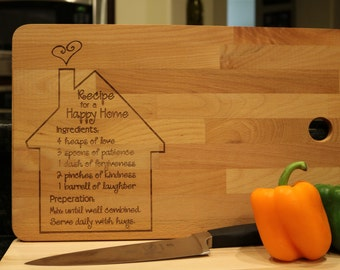 Recipe for a Happy House, personalized cutting board, customizable large cutting board, board for mom