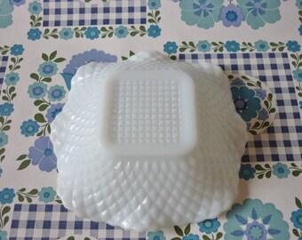 Milk Glass Candy Dish With Diamonds