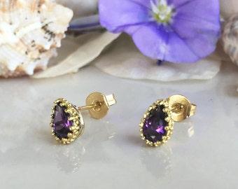 20% off-SALE!! Amethyst Earrings - Bezel Set Earrings - February Birthstone Jewelry - Teardrop Earrings - Post Earrings - Simple Earrings