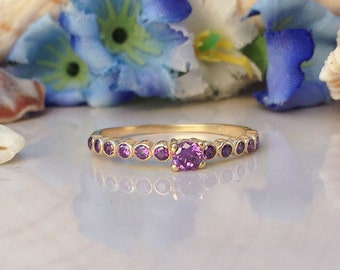 20% off-SALE!! Amethyst Ring - Stacking Ring - TIny Ring - Gold Ring - Purple Ring - Dainty Ring - Simple Ring - Birthstone Ring