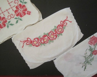 Vintage Runner Lot of 3 - Red and Green Flowers
