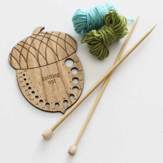 Knitting Needle Stitch Gauge : Knitting Needle Gauge Acorn Knitting Gauge by CottageStitchesShop