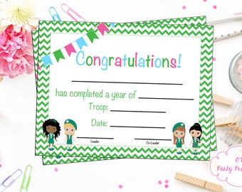 INSTANT DOWNLOAD - Scout Junior Certificate of Completion - Scout Bridging Award - Junior Certificate - DIY - Print at Home - Not editable