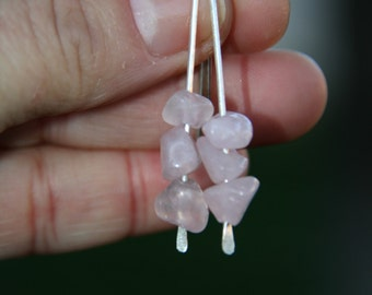 Rose Quartz And Fine Silver Earrings            ( 1.1/2 inches long)