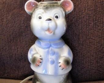 Vintage Ceramic Teddy Bear Lamp - Works - Great for Boy or Girl
