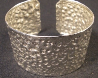 "Pure 0.999 Fine Silver Cuff Bracelet X-Deep Hammered Texture Polished XX-WIDE + Light, 7-1/4"" x 1-5/8"", 28 Grams Purer than Sterling Silver"