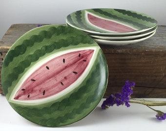 Vintage Ceramic Plates - Set of Four Hand Painted Watermelon Plates - Ceramic Watermelon Plates - Summer Fun