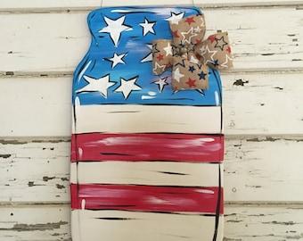 Mason Jar Flag  door/wall hanger!