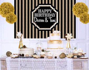Happy Birthday Personalized Backdrop - 40th Birthday Cake Table Backdrop Birthday- Classic Black and Gold Backdrop, Art Deco Backdrop
