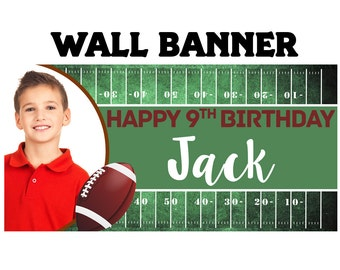 Football Birthday Party Banner ~ Personalized Party Banners Indoor or Outdoor Photo Sports Banner