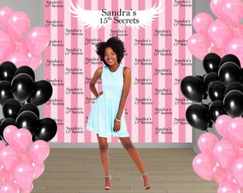 Pink Stripes Party Personalized Photo Backdrop, 15th Birthday Photo Backdrop, Sweet 16th Photo Backdrop - Angel Wings Backdrop