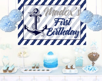 Nautical Birthday Personalized Backdrop - Anchor Birthday Cake Table Backdrop, 1st Birthday Prince, Custom Photo Backdrop