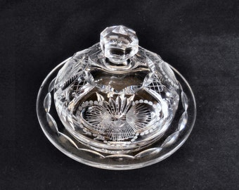 Cut Lead Crystal Covered Butter Dish