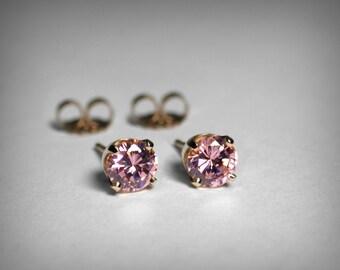 14K Pink Earrings, Pink Cubic Zirconia Earrings, October Birthstone Earrings, 14K Pink CZ Stud Earrings, October Birthday, Imitation Diamond