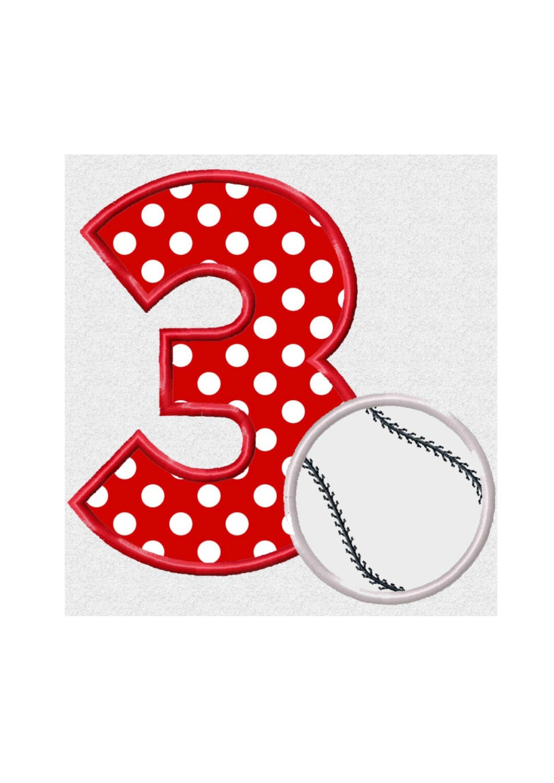 Rd birthday baseball applique machine embroidery design no