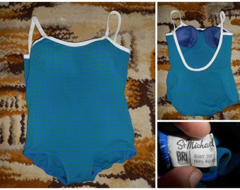 1960s Vintage Retro Blue & Green Houndstooth Pattern Swimsuit Swimming Costume Swimwear By St Michael UK Size 14 16