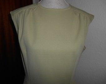 Cute Vintage Retro 1960s Mod Mad Men Style Green Embossed Criss Cross Pattern Sleeveless Dress UK Size 14 16