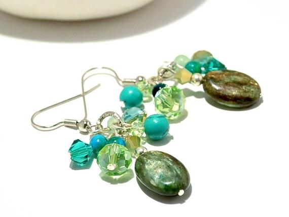 emerald dangles ethnic earrings gem jewelry