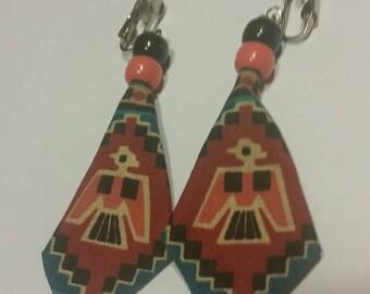 Vintage Southwestern Earrings Tribal Pattern