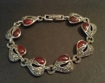 Silver Heart Bracelet Deep Red Enamel Costume Jewelry