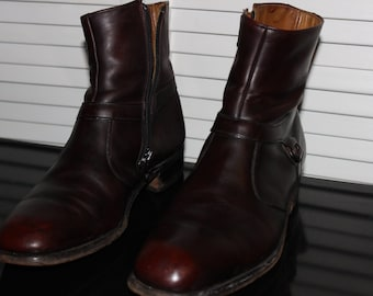 VINTAGE Breather-Wright Side zip boot, Dark Red 9D mens