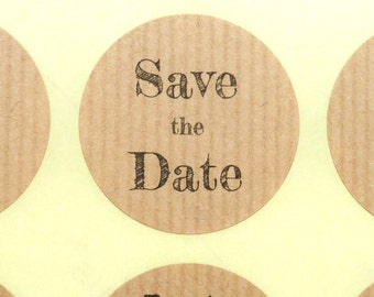 Save the date ribbed rustic recycled kraft paper stickers weddings 4cm envelope seals