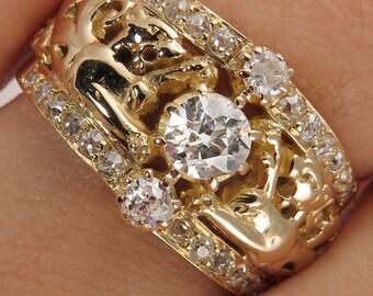 0.75ct Estate Vintage Old Mine Diamond Three Stone Engagement Wedding 18k Yellow Gold Ring