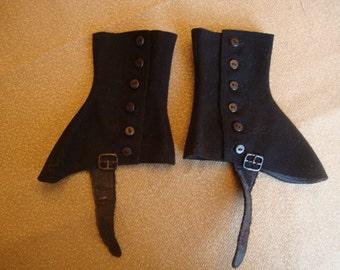Vintage Black Wool Spats