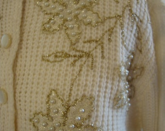Vintage Beaded Cardigan 50's Sweater