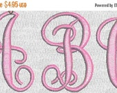 HUGE SALE Machine Embroidery Fonts Alphabet Fancy Monogram Letters  One inch size PES format only 26 files
