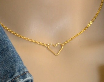 Floating Heart Choker Necklace, 14k Gold Filled 14 Inch Necklace, All Gold Filled Jewelry